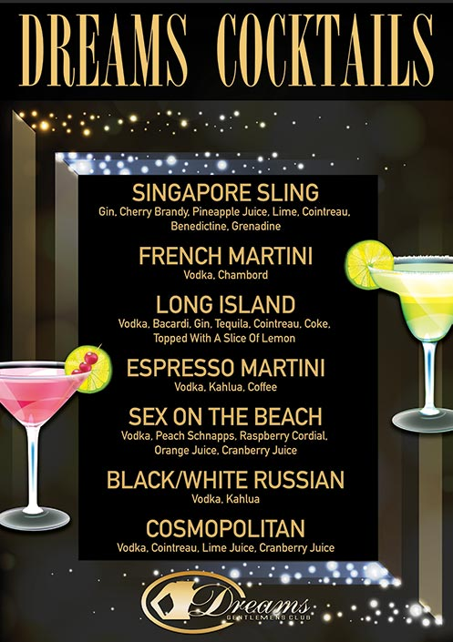 Dreams Cocktails Menu